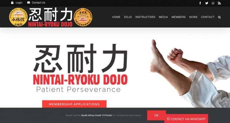 karate dojo website design